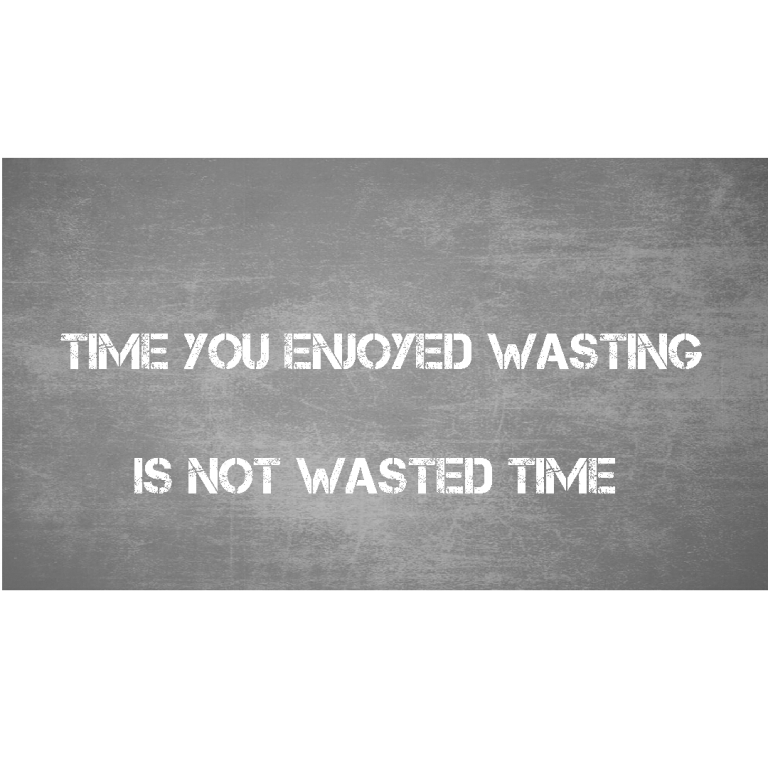 Time you enjoyed wasting is not wasted time